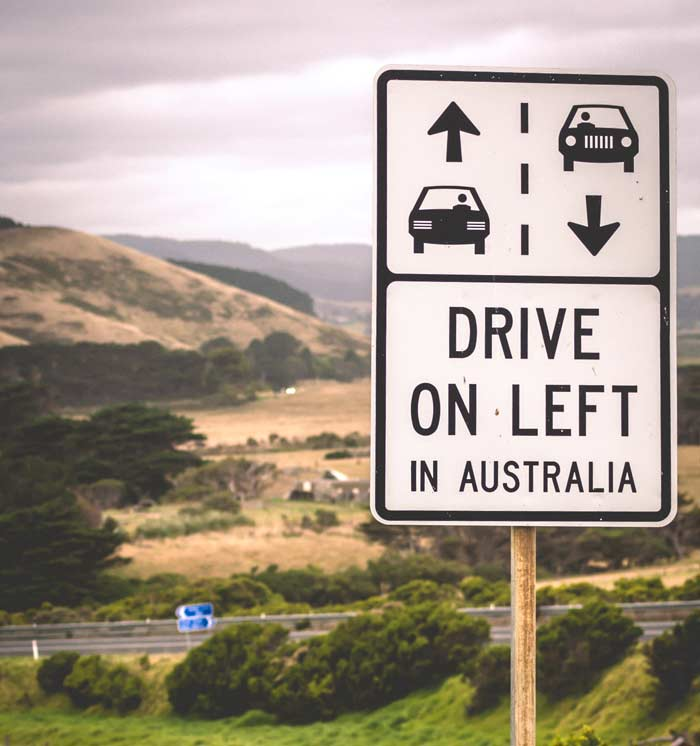 drive on the left sign in Australia
