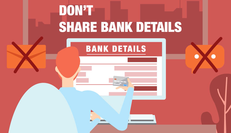 identity theft tip: don't share bank details