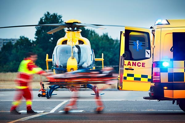 emergency medical evacuation by helicopter and ambulance