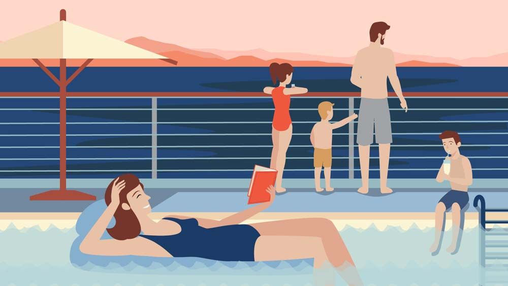 illustration of family on a deck and in pool looking over ocean