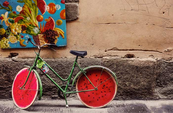 Bicycle against wall with pizza wheels - Florence, Italy