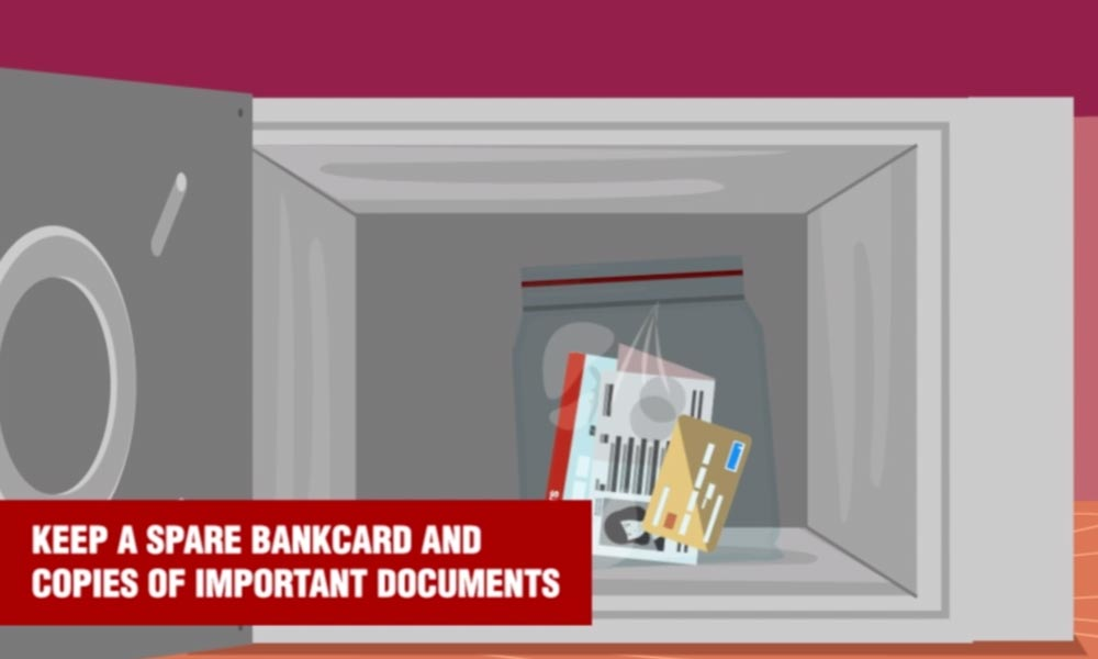 pickpocket tip: keep a spare bankcard and copies of important documents