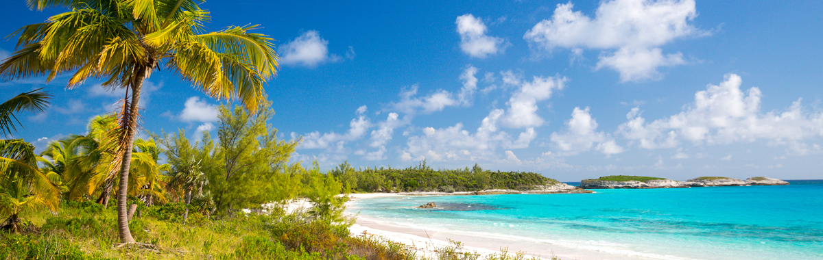 A Bahamas vacation with beautiful white sand beach with ocean and palm trees