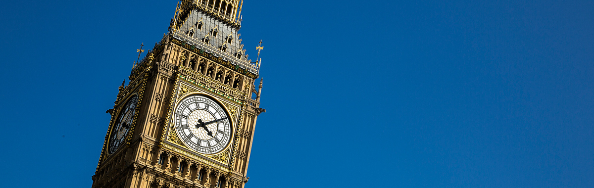 Big Ben in London, England, which abides by Daylight Saving Time