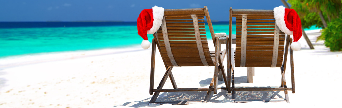 Holiday spirit on a tropical beach far away from busy airports and long lines