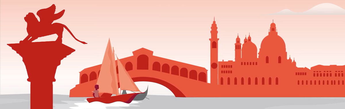 illustration with Generali lion statue, boat on river, buildings