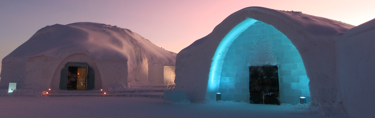An ice hotel in Sweden that looks like luxury igloos, a great place to view the Northern Lights