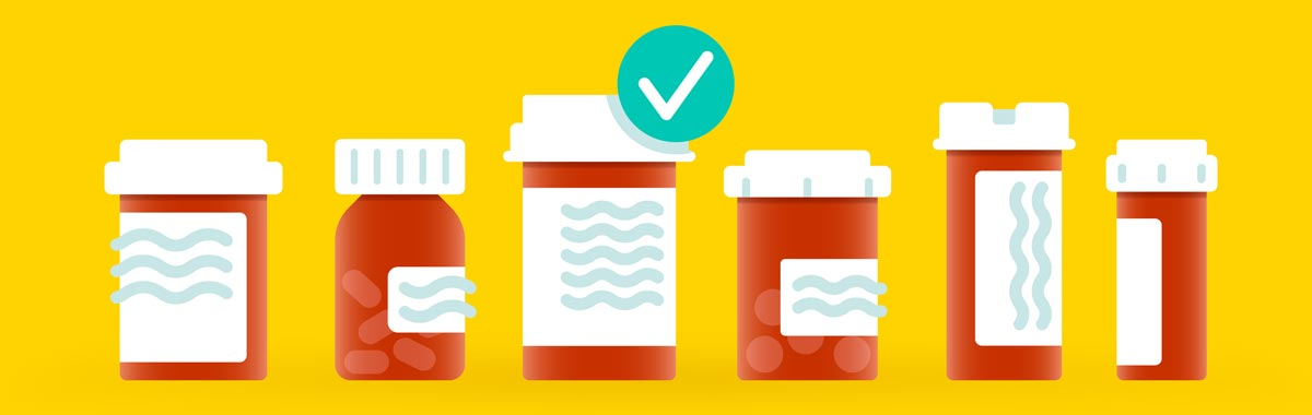 illustration of medication in pill bottles with check mark