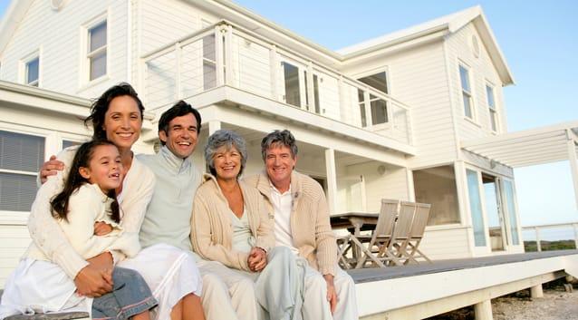multigenerational family at vacation rental